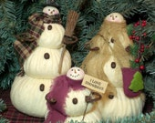 The Snowflakes, A Primitive Folk Art Snowman Doll Family Winter Christmas Shelf Sitters Set of 3