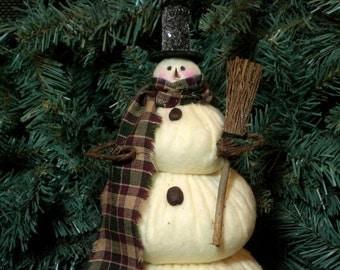 Mr. Snowflake The Primitive Folk Art  Snowman Doll Winter Christmas Shelf Sitter