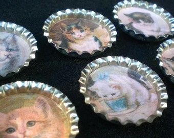 Fancy Felines Kitty Cat Pet Lover Bottle Cap Magnets Set of 6