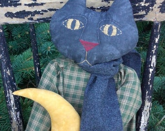 Goodnight Moon Kitty Kat Primitive Doll With Green Or Red Dress