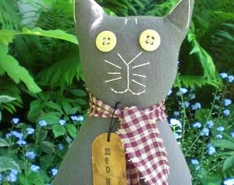 Primitive Folk Art Flannel Meow Kitty Cat Doll