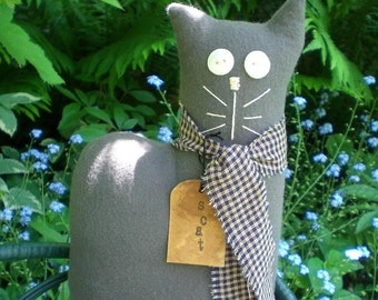 Scat The Primitive Folk Art Gray Flannel Kitty Cat Doll
