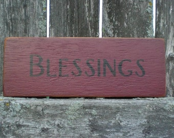 Small Primitive Wood Sign- Blessings in Red and Black