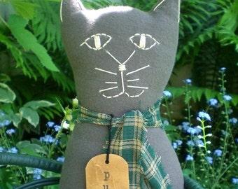 Primitive Folk Art Gray Flannel Purr Kitty Cat Doll