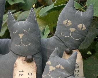 Whimsical Black Cats Set of 3 Primitive Folk Art Dolls