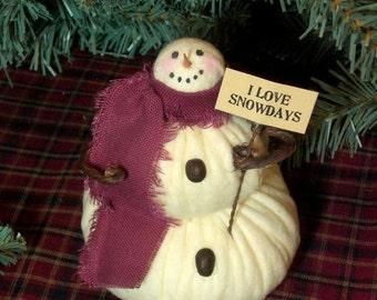 Lil' Snowflake The Primitive Folk Art Snowman Doll Winter Christmas Shelf Sitter