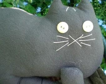 Primitive Folk Art Gray Flannel Mew Kitty Cat Doll