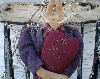 Primitive Folk Art Spring And Easter Purple Sweetheart Rabbit Shelf Sitter Art Doll