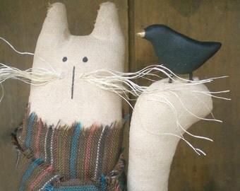 Primitive Whiskers Cat and Crow Folk Art  Shelf Sitter Art Doll