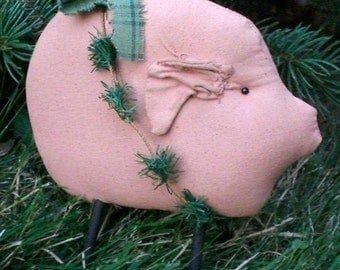 Primitive Farmhouse Folk Art Pig Shelf Sitter Doll