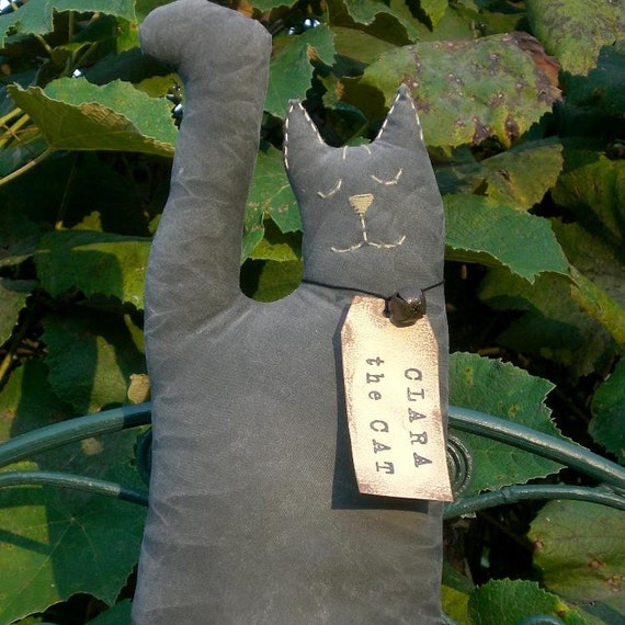 Clara The Petite Primitive Black Cat Shelf Sitter Doll