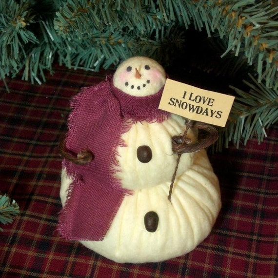 Lil' Snowflake The Primitive Folk Art Snowman Doll Winter Christmas Shelf Sitter