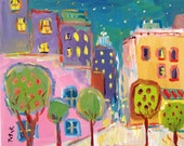 16x20 Original Whimsical Decorative Abstracted City Painting on canvas by Russ Potak