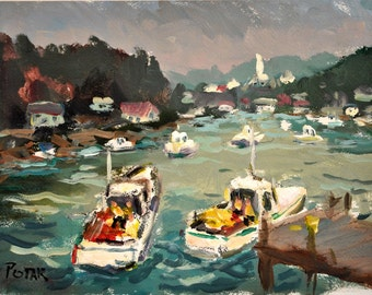 Nautical Painting New Harbor Maine Impressionism by Russ Potak
