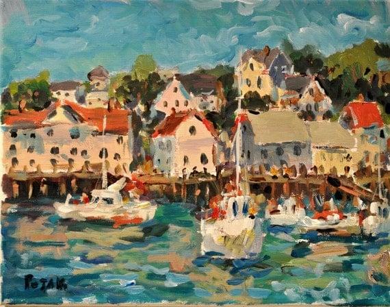 Maine Painting Boothbay Harbor Original Art by Russ Potak