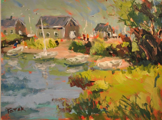Seacoast Shore and cottages along tidal creek with sailboats and marsh by Russ Potak
