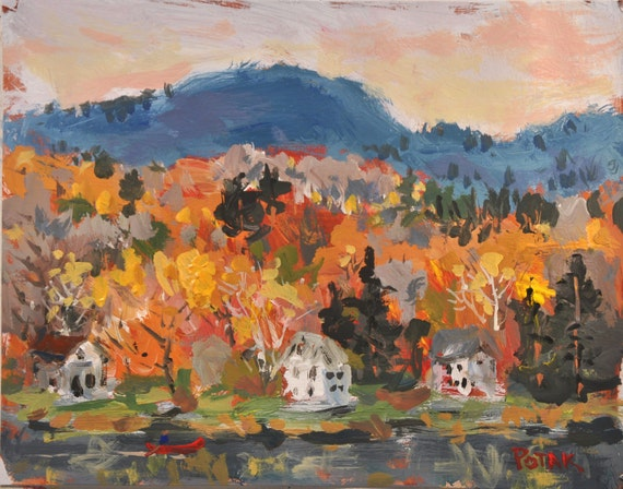 Autumn Landscape Painting, with lake, fall foliage, and cottages / FREE SHIPPING