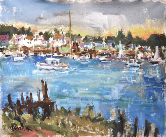 Harbor Painting Seascape with seaside town and boats on waterfront  along the coast