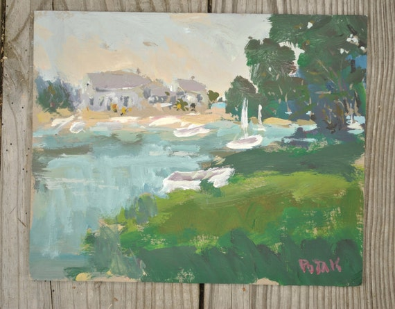 9x12  Original Painting Ocean Cove with boats and beach shacks by Russ Potak