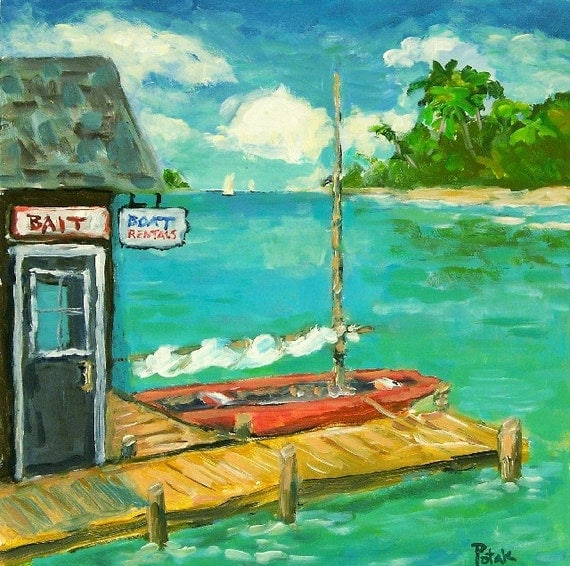 Florida Keys Original  Painting with Islands, palm trees, dock, sailboats, bait shack, aquamarine water by Russ Potak