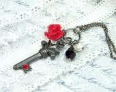 Key Necklace, Charm Necklace, Black And Red Necklace, Goth Necklace, Key Charm Necklace