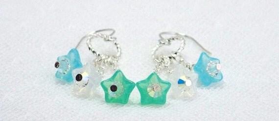 Flower Dangle Earrings, Glass Flower Earrings, Shabby Chic Jewelry, Crystal Earrings, Silver Dangle Earrings