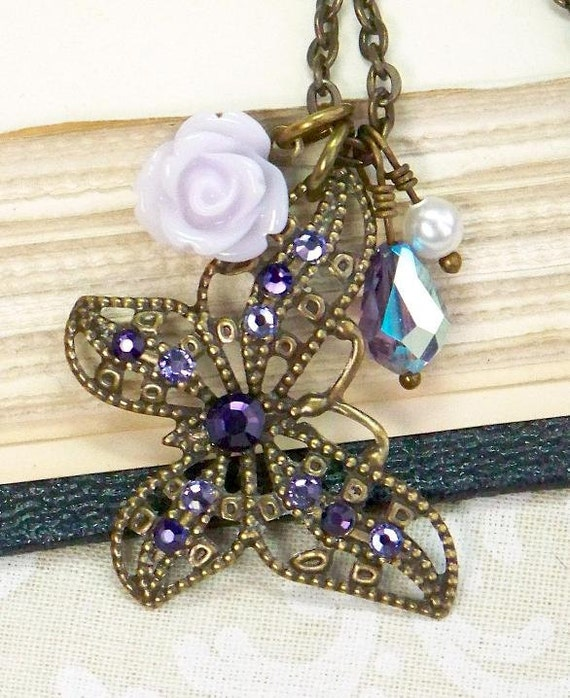 Butterfly Necklace, Charm Necklace, Purple Necklace, Antique Brass Charm Necklace, Vintage Style Necklace