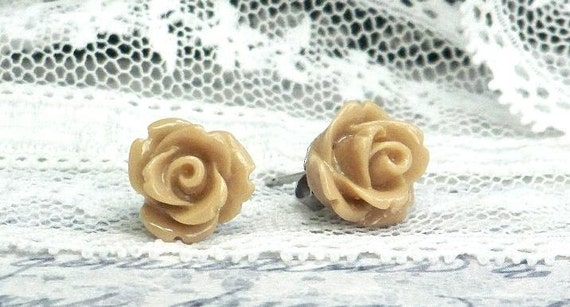 Rose Stud Earrings, Rosebud Earrings, Hypoallergenic Studs, Rose Earrings, Rose Post Earrings, Tan Earrings