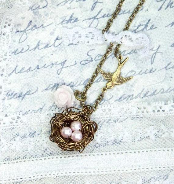 Nest Necklace, Bird Nest Necklace,  Shabby Chic Jewelry,  Vintage Style Jewelry,  Pearl Nest Necklace