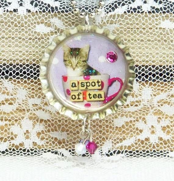 Kitten Necklace, Altered Art Necklace, Bottle Cap Necklace, Tea Cup Necklace, Bottle Cap Jewelry