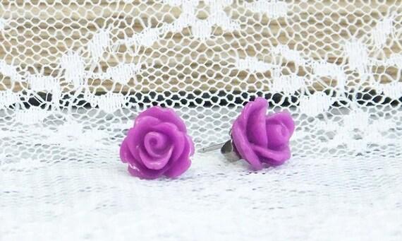 Rose Stud Earrings, Hypoallergenic Studs, Purple Rose Earrings, Rosebud Earrings, Purple Stud Earrings, Surgical Steel Studs