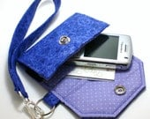 Custom Fit Cell Phone Case with coordinating keychain wristlet and inside pocket - Purple with lavendar and dots