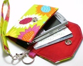 Cell Phone Case with coordinating keychain wristlet and inside pocket -green with daisy