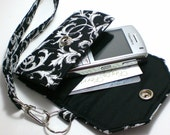 Cell Phone Case with coordinating keychain wristlet and inside pocket - black and white