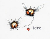 Original Blank Greeting Card illustration drawing LOVE bugs Whimsical heart bees
