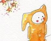 Aceo Original illustration Painting boy in Orange pajamas Rabbit doll Moon and stars