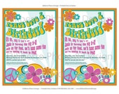 PRINTABLE Party Invitation : Hippie 1960s Birthday Party By DilibertoDesign