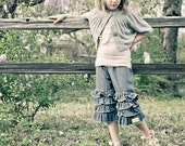 Vintage look Ruffled Heart  pants capri Jeans 1 2 3 4 5 6 7