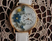 Quilled Blue and Yellow Floral Watch with White Leather Strap