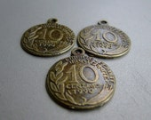 Antique Bronze Coin Charms 10 centime - five coins