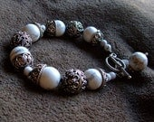 Sterling Silver Bali Beads and White Howlite Bead Bracelet