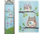 Alice Owl Canvas Growth Chart -  Childrens Art - Tree Flowers Pink Purple Woodland