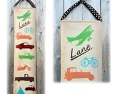 Vintage Transportation Canvas Growth Chart -  Childrens Art height chart car airplane motorcycle
