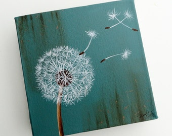 "Eye of Beholder Robin Egg Blue ""Dandelion Fluff""  6""x6"" Original Canvas"