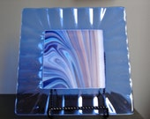 Ocean  Waves  Fused Glass Square Plate