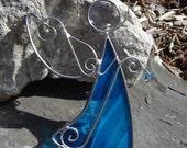 Angel of Love in Sea Blue Angel Stained Glass Suncatcher