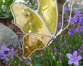 Butterfly in Flight in Sunshine Yellow Stained Glass Suncatcher friendship gift