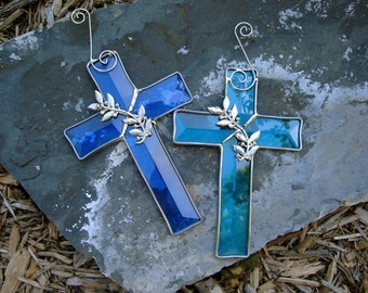 Beveled Cross Suncatcher Available in Four Colors