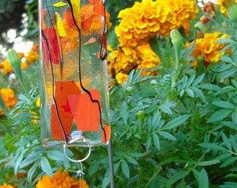 Falling Leaves Fused Glass Suncatcher