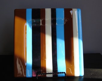 Earth Sky and Water Fused Glass Square Plate